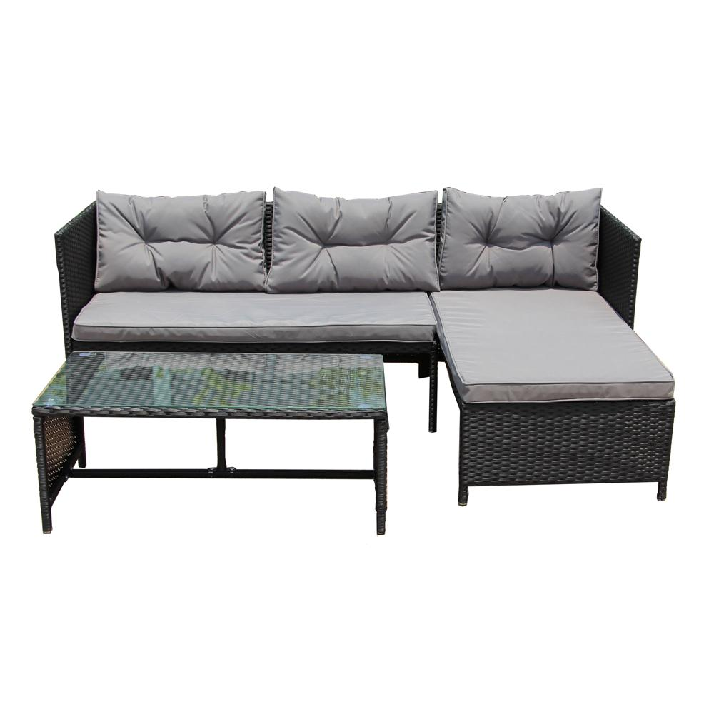 Rattan 3 Piece Sofa Aleko 3 Piece Rattan Lounge Furniture Set In Black