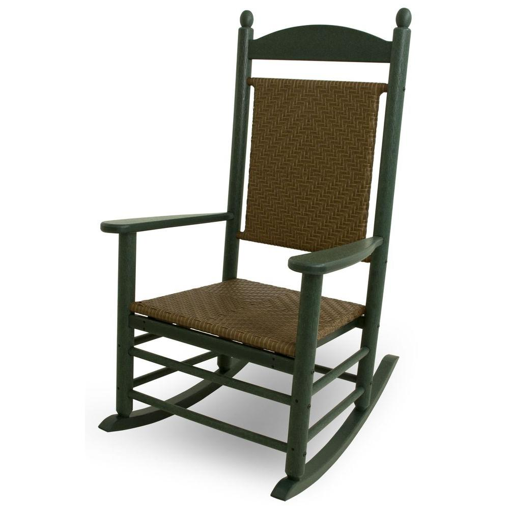 woven plastic garden chairs cheap chair pads polywood jefferson green all weather outdoor rocker with tigerwood weave