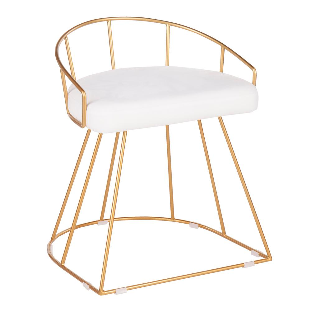 lumisource canary 18 in gold vanity stool with white velvet cushion b18 canary auvw the home depot