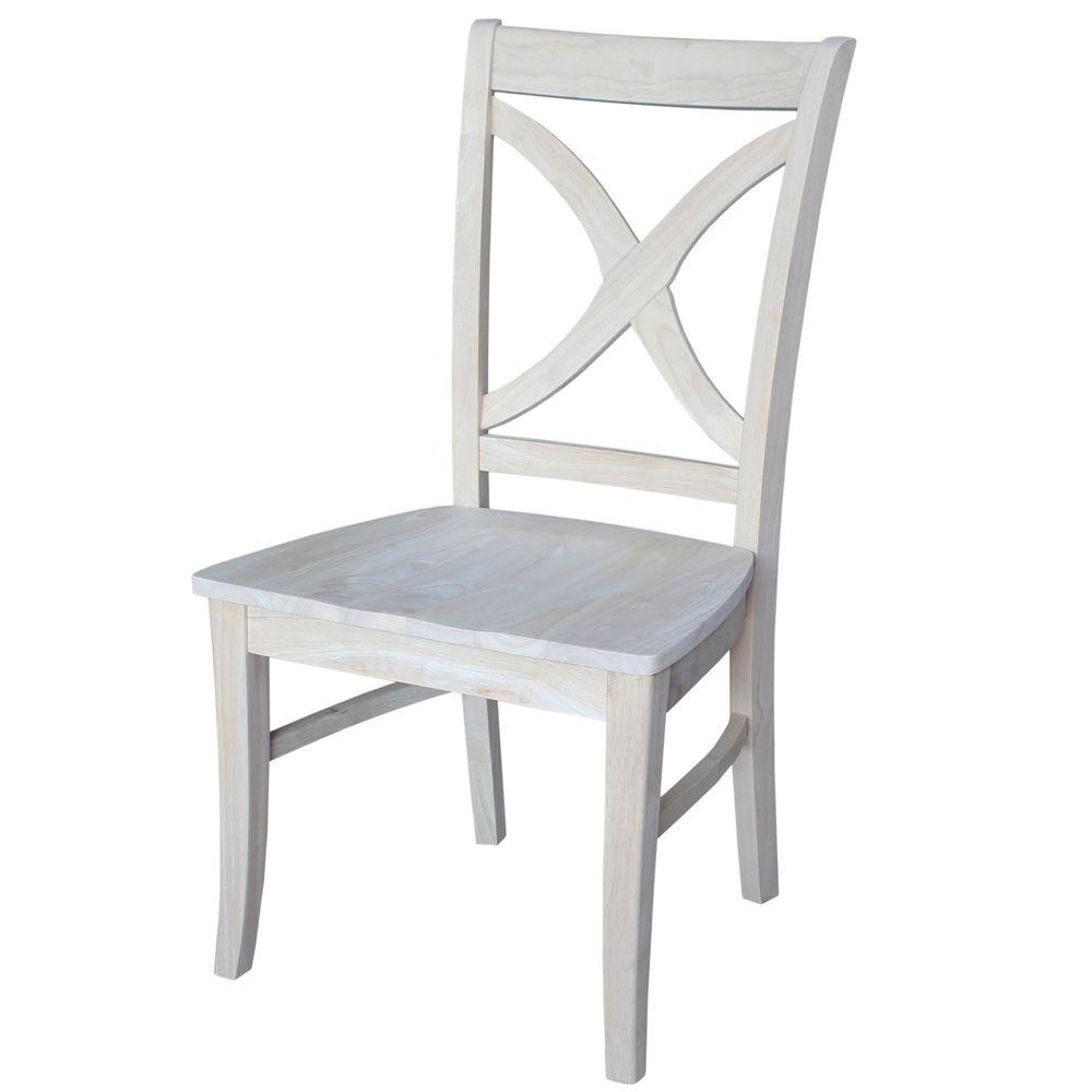 cross back dining chairs white storing banquet chair covers kitchen room furniture the unfinished wood x set of 2