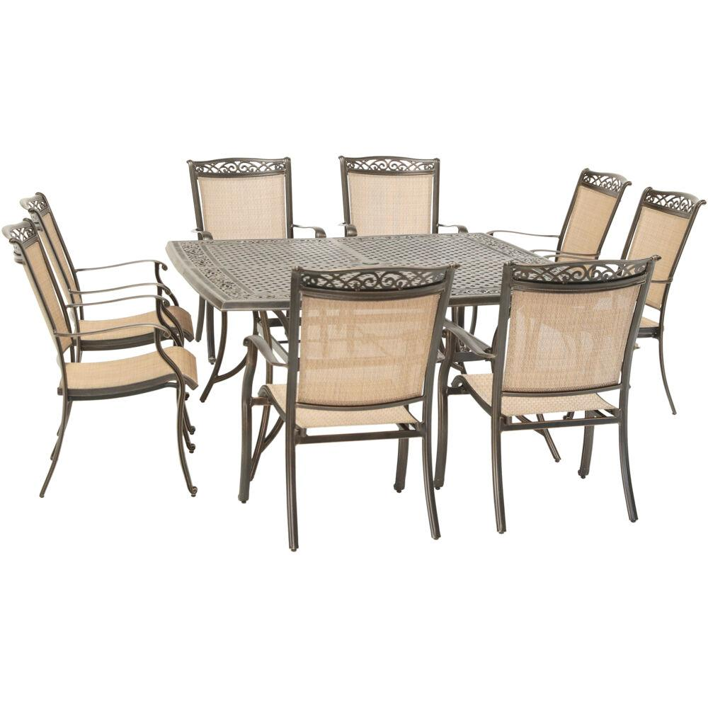 8 Chair Dining Set Hanover Fontana 9 Piece Aluminum Outdoor Dining Set With 8 Sling Chairs And A 60 In Square Cast Top Table