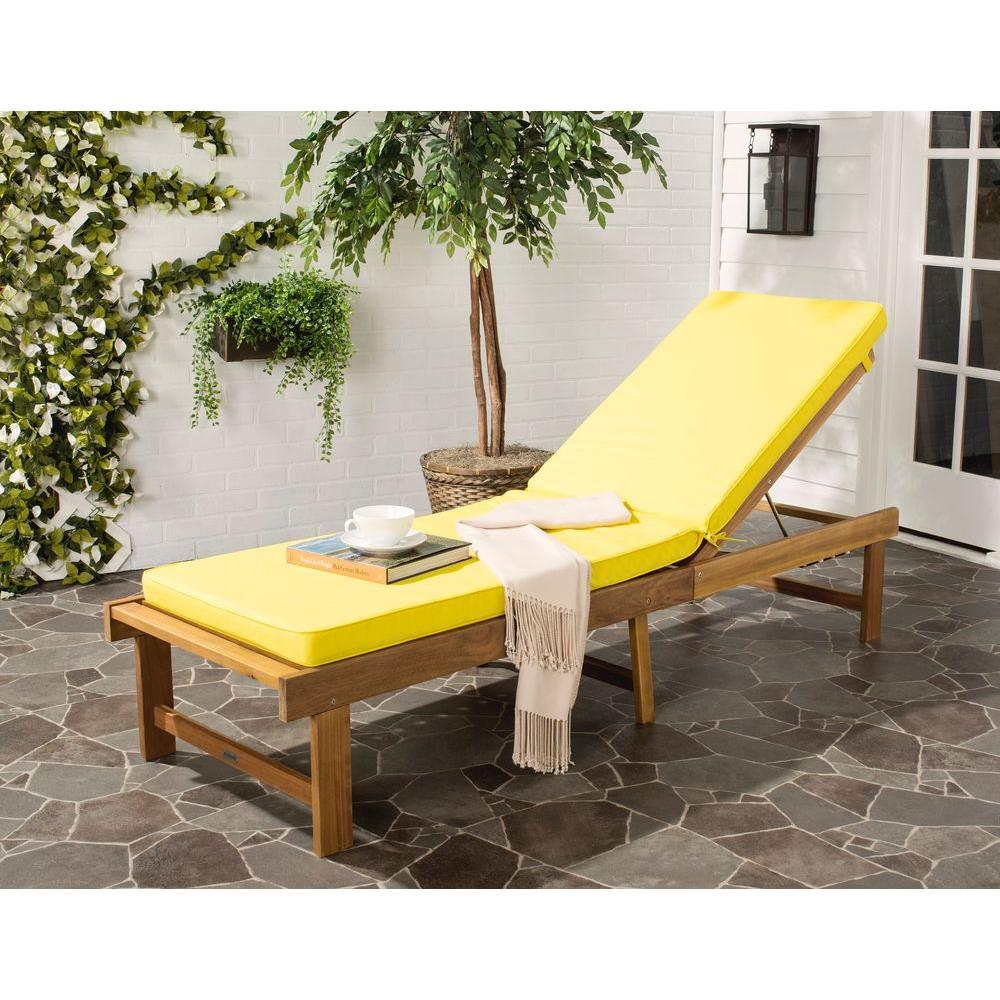 Teak Chaise Lounge Chairs Safavieh Inglewood Brown 1 Piece All Weather Teak Outdoor Chaise Lounge Chair With Yellow Cushion