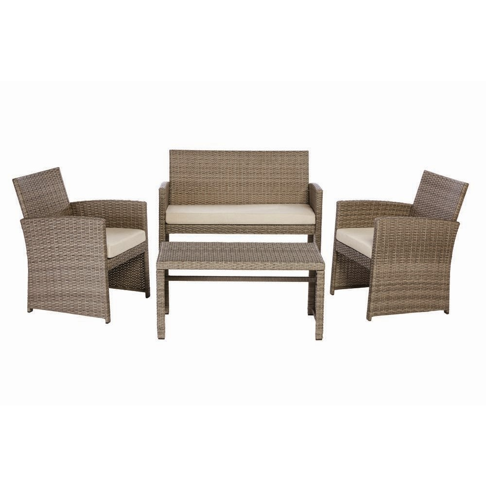 Wicker Patio Chair Park Trail Grey 4 Piece Wicker Patio Conversation Set With Light Brown Cushions