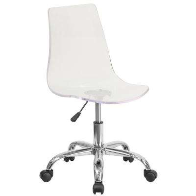 clear desk chairs cheap white spandex chair covers for sale swivel office home furniture the depot contemporary transparent acrylic task with chrome base