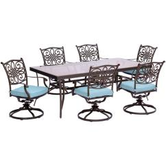 Table With Swivel Chairs Convert Aeron Chair To Stool Hanover Traditions 7 Piece Aluminum Outdoor Dining Set Rectangular Glass And Blue Cushions