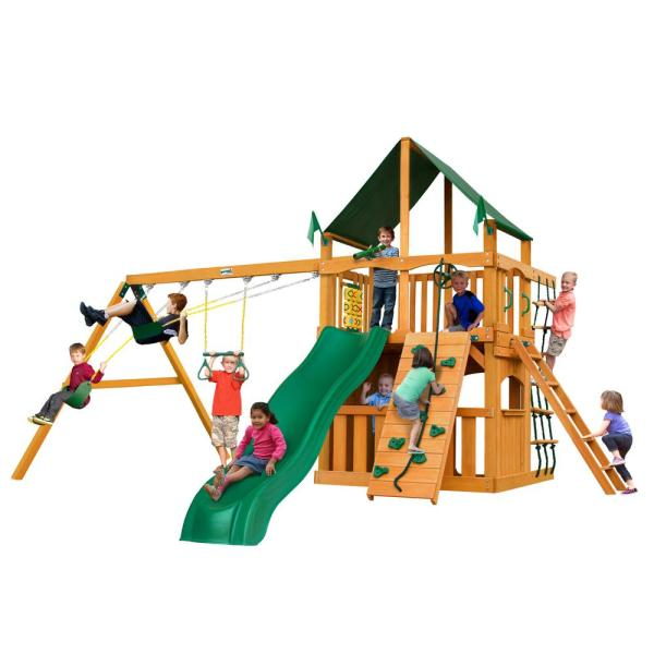 Gorilla Playsets Chateau Clubhouse Wooden Playset With Sunbrella Canvas Canopy And Rock Wall-01