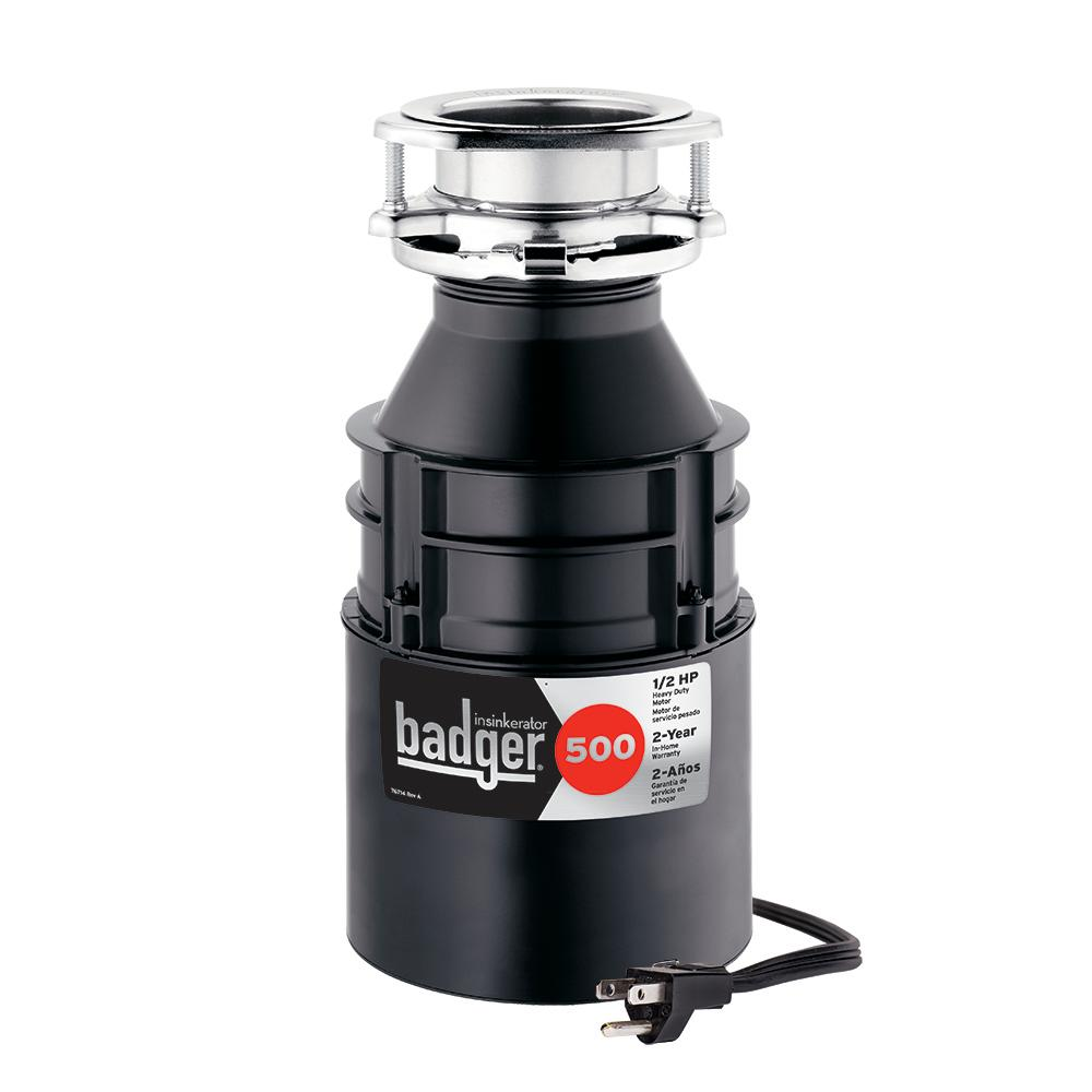 kitchen disposal cost of new insinkerator badger 500 1 2 hp continuous feed garbage with power cord