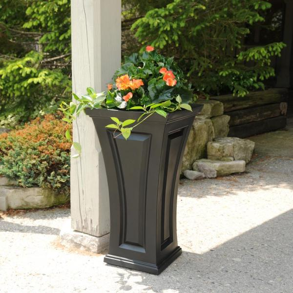 Mayne Cambridge 16 In. Square Black Plastic Column Planter