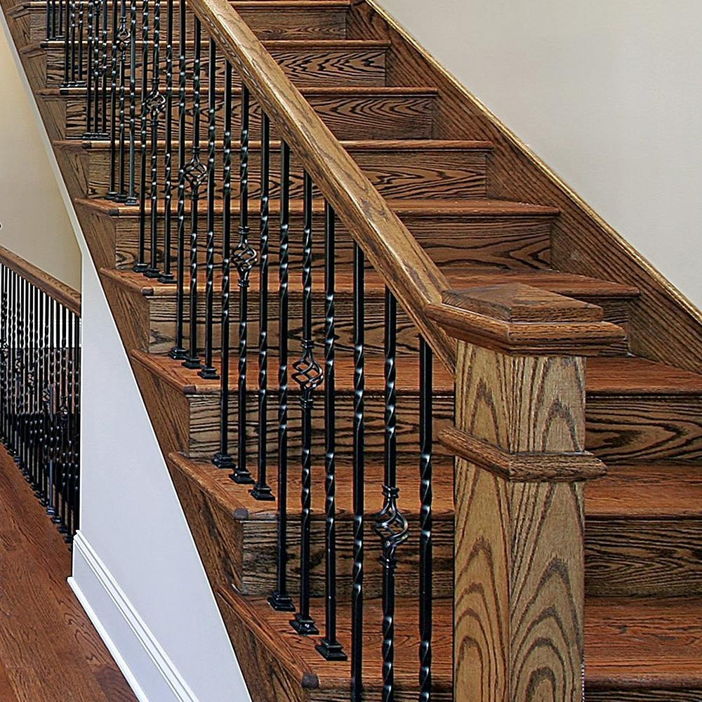 Stair Parts 5 In Satin Black Flat Metal Baluster Shoe I342D 000 | Installing Metal Balusters Wood Railing | Stair Treads | Deck Railing | Iron Baluster | Iron Stair Spindles | Stair Rail