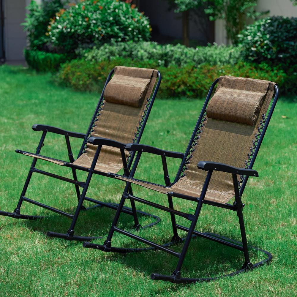 Outdoor Rocking Chair Set Patio Festival Brown Metal Outdoor Rocking Chair