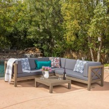 Noble House Brava Grey 4-piece Wood Outdoor Sectional Set