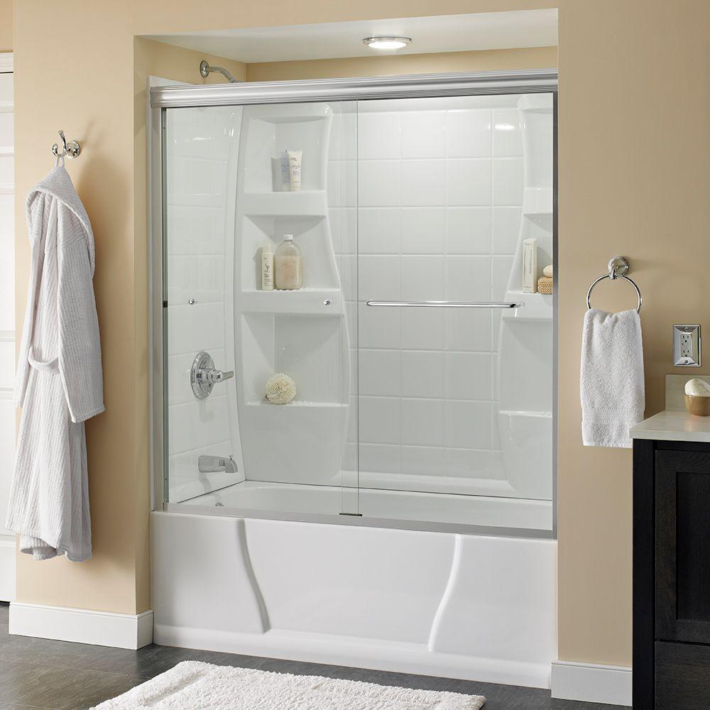 Shop Delta White Acrylic One Piece Shower Common 36 In X