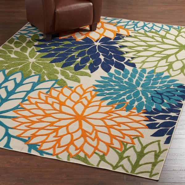 outdoor patio rug Nourison Aloha Multicolor 8 ft. x 11 ft. Indoor/Outdoor Area Rug-242730 - The Home Depot
