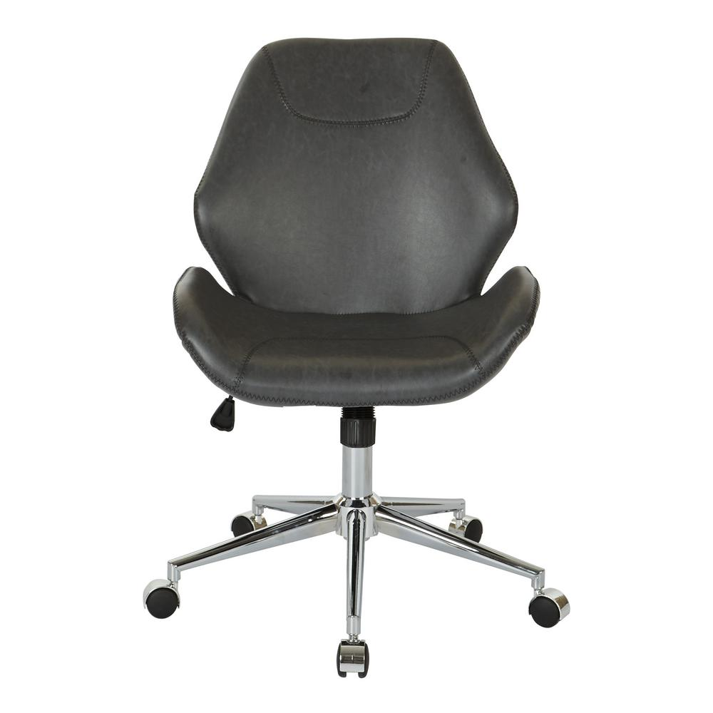 office chair steel base with wheels ballard designs dining cushions ave six chatsworth black faux leather chrome sb546sa du6 the home depot