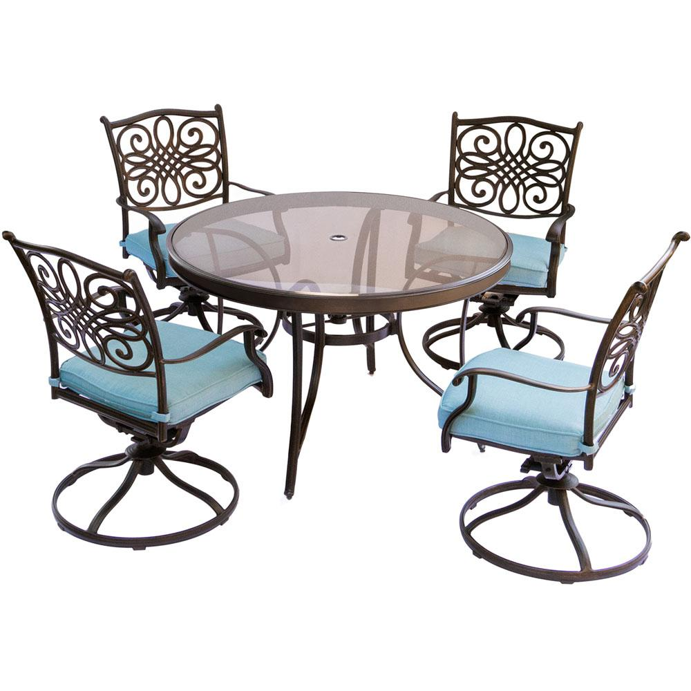 table with swivel chairs pride healthcare inc lift chair hanover traditions 5 piece aluminum outdoor dining set round glass top and blue cushions