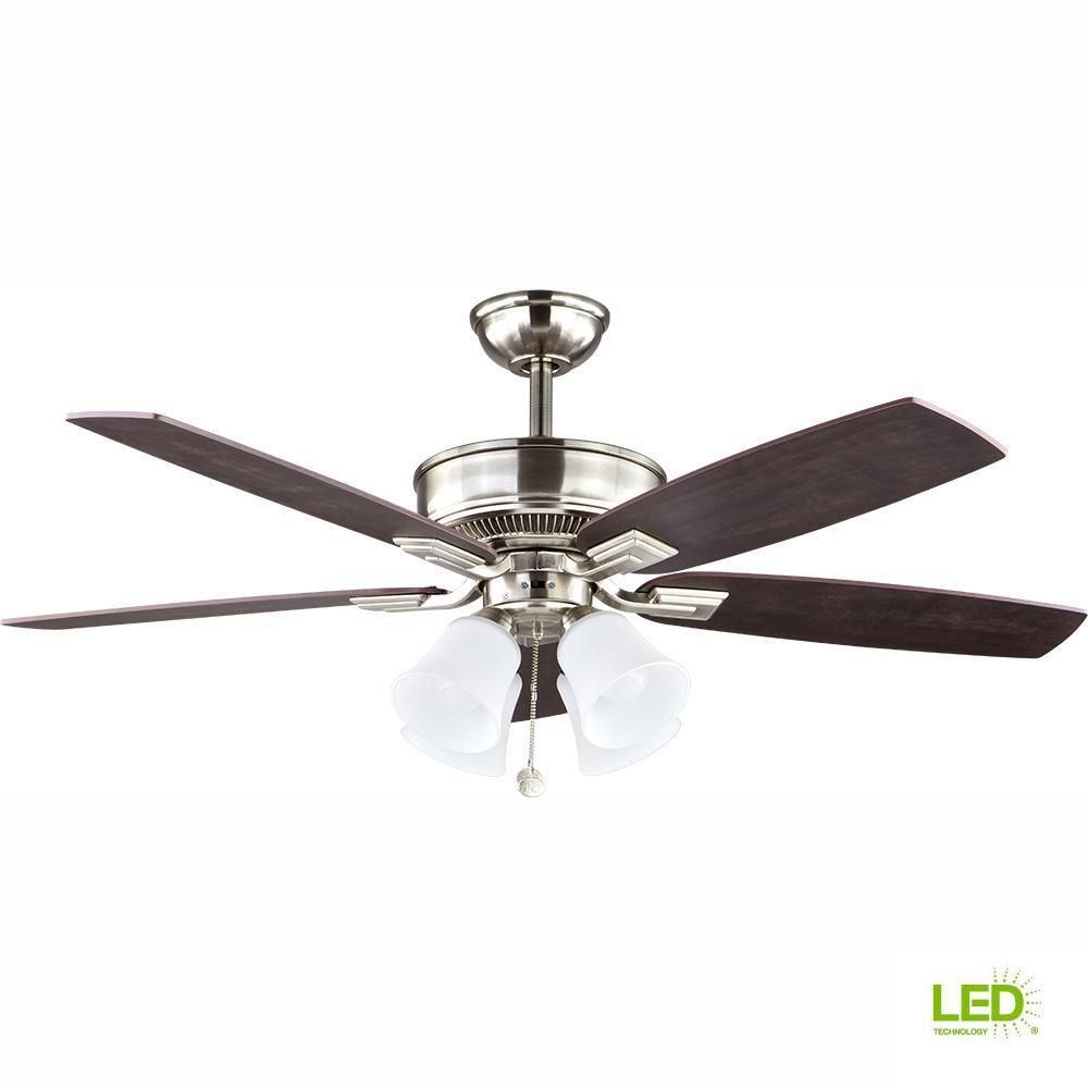 Hampton Bay Devron 52 in LED Indoor Brushed Nickel