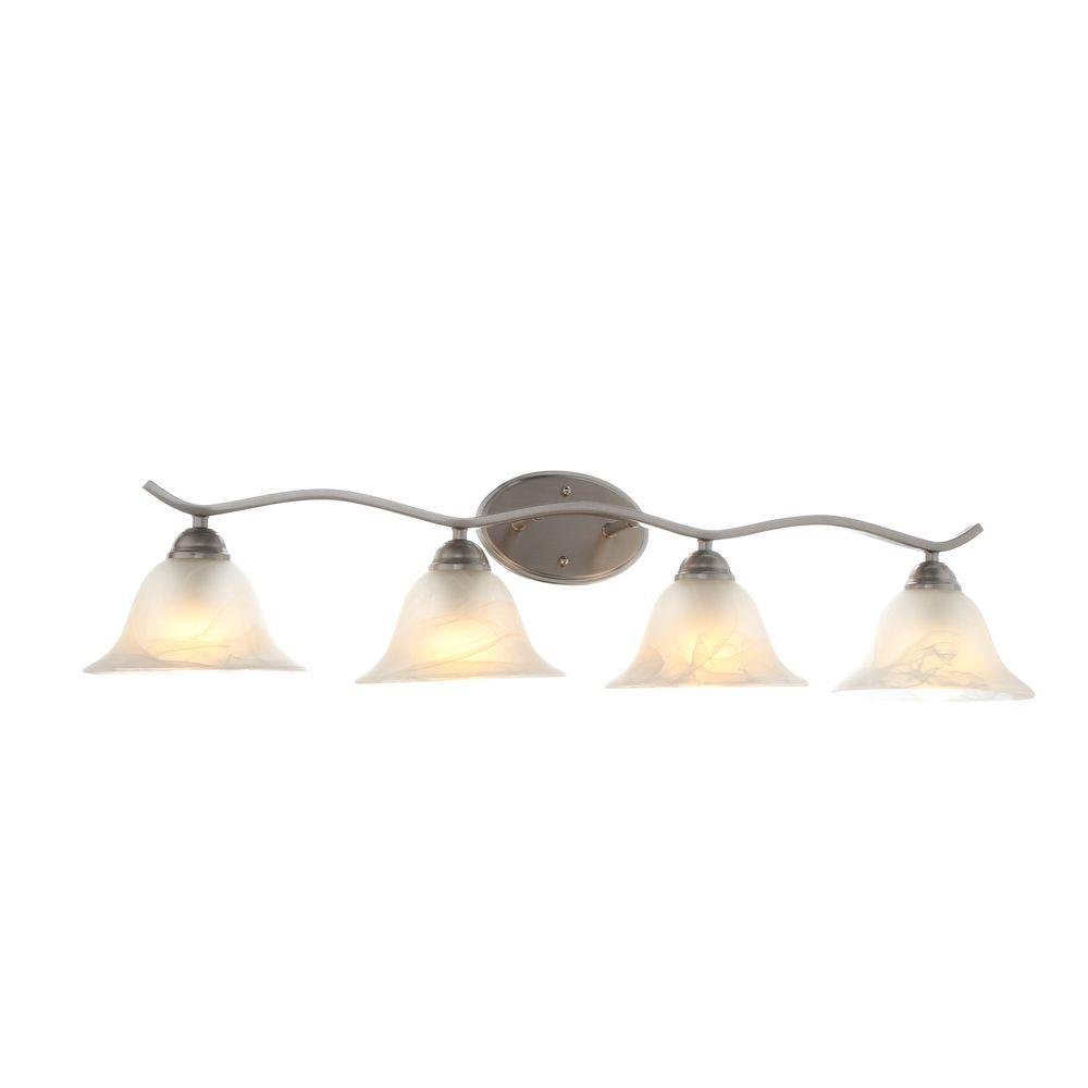 hight resolution of hampton bay andenne 4 light brushed nickel bath vanity light with bell shaped marbleized glass