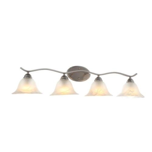 small resolution of hampton bay andenne 4 light brushed nickel bath vanity light with bell shaped marbleized glass
