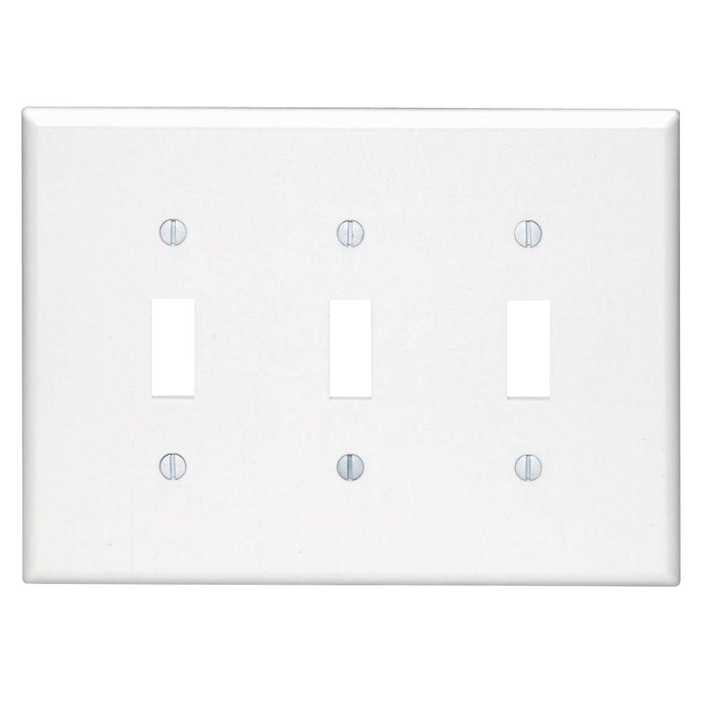 Leviton 3-Gang Midway Toggle Nylon Wall Plate, White-R52