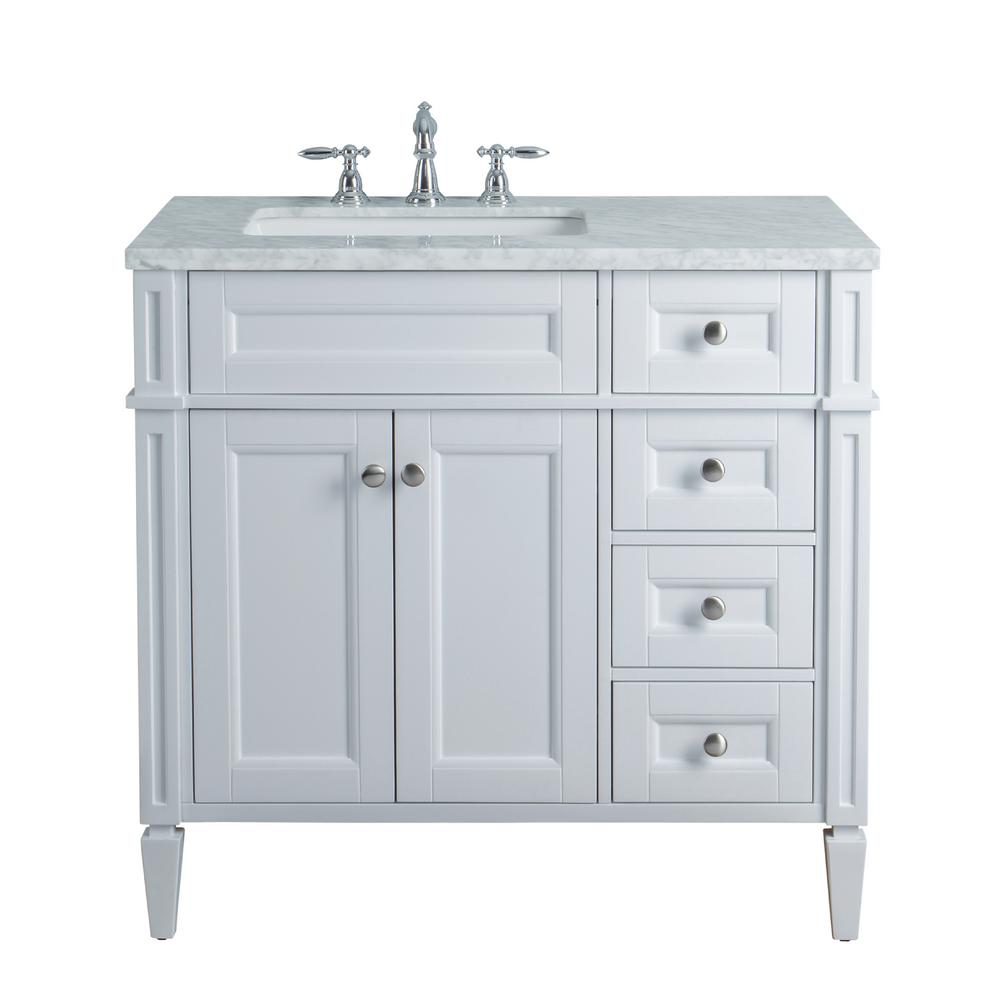 Bathroom Vanity Top With Sink Stufurhome Anastasia French 36 In White Single Sink Bathroom Vanity With Marble Vanity Top And White Basin