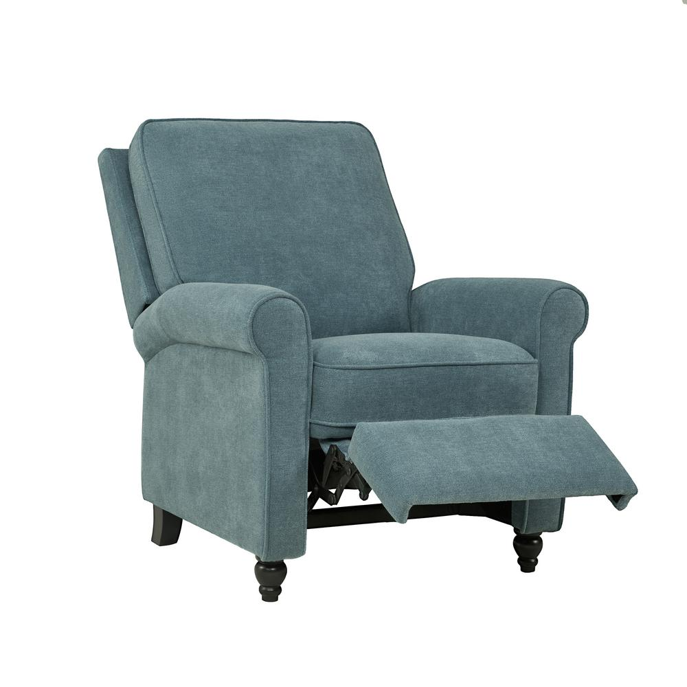 reclining club chair mary engelbreit of bowlies recliners chairs the home depot caribbean blue chenille push back recliner