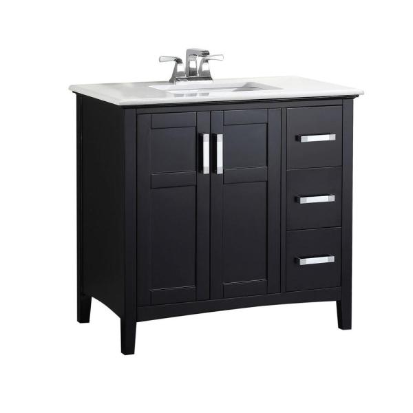 Black 36 Bathroom Vanity with Top