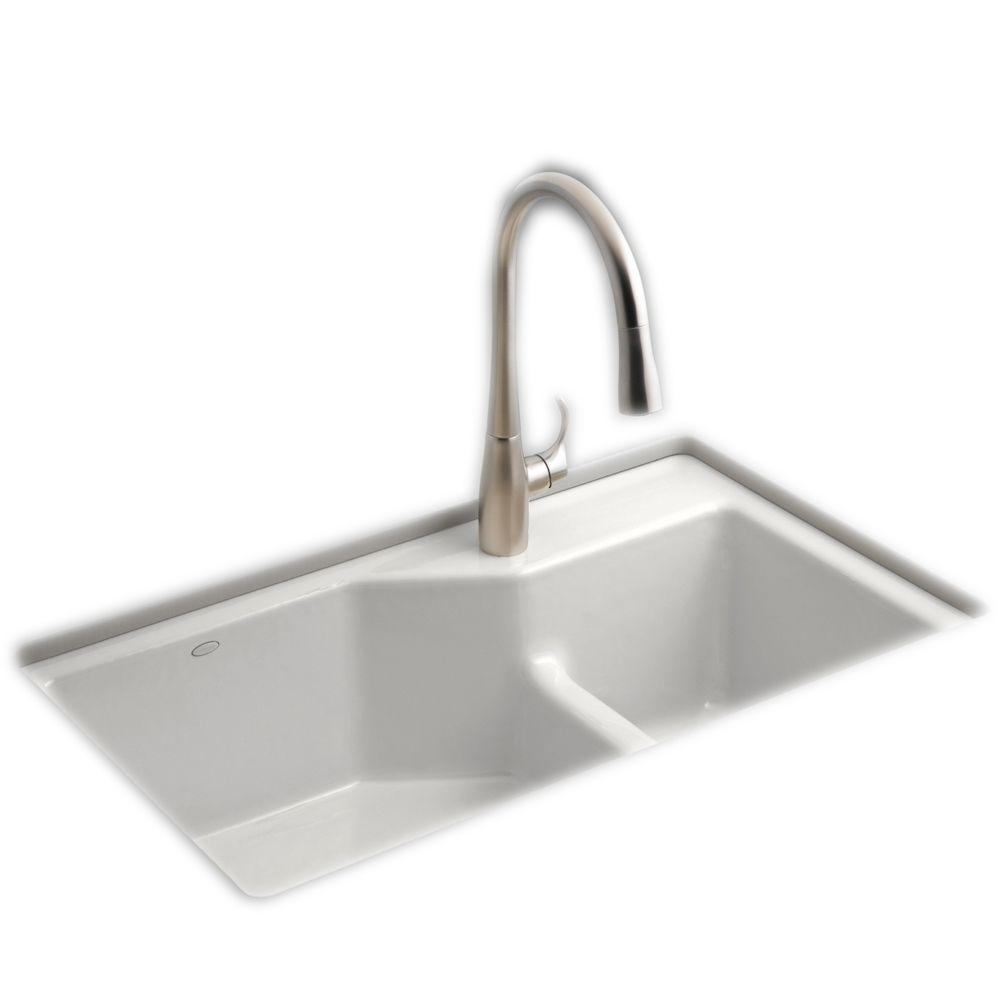 kohler cast iron kitchen sink unique cabinets indio smart divide undermount 33 in 1 hole double bowl kit white