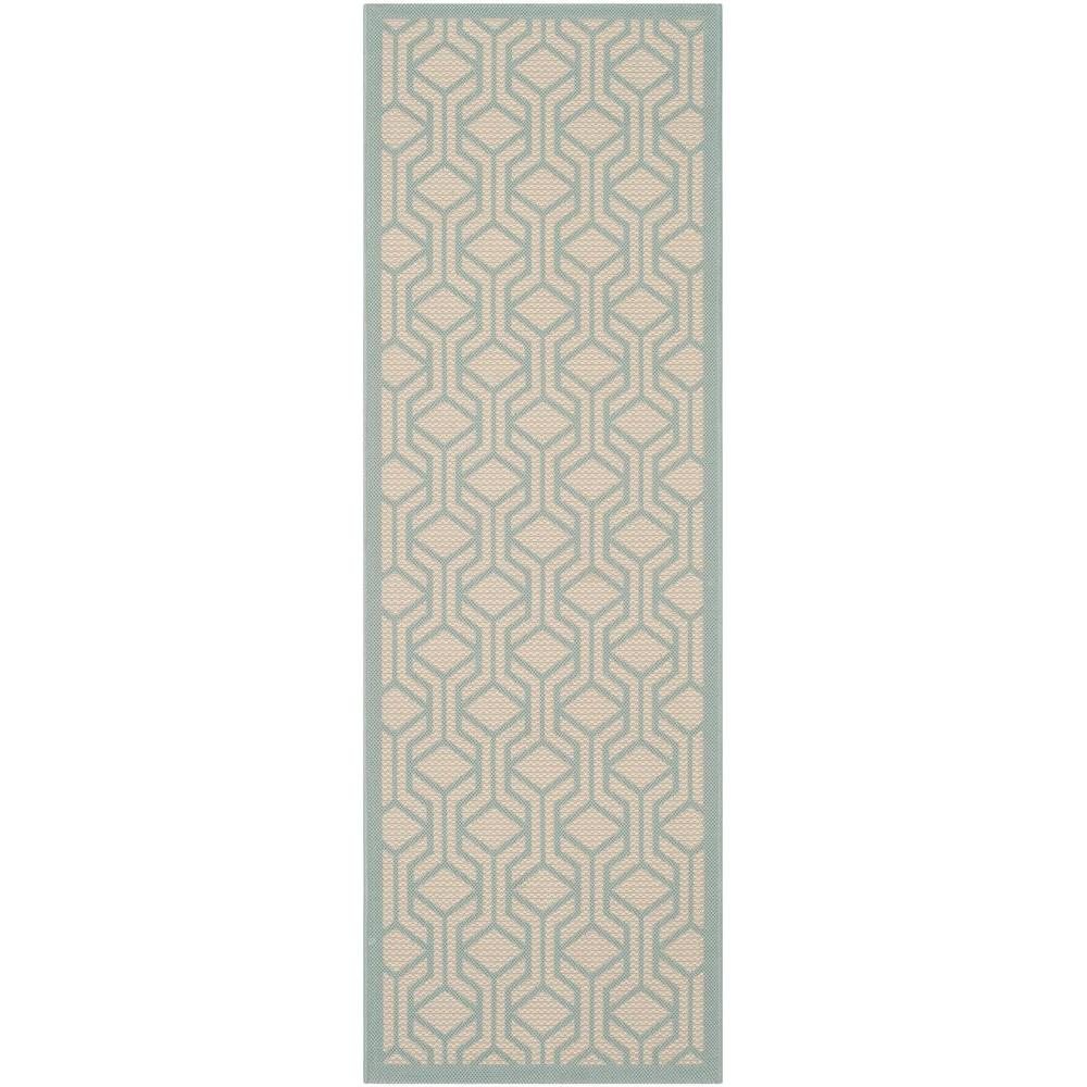 Outdoor Teppich 250 X 500 Safavieh Courtyard Beige Aqua 2 Ft X 7 Ft Indoor Outdoor Runner Rug