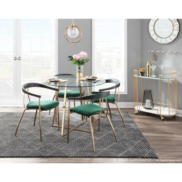 Lumisource Vanessa Gold And Green Velvet Dining Chair With Black Wood Accent Set Of 2 Ch Vnesa Auvgn2 The Home Depot