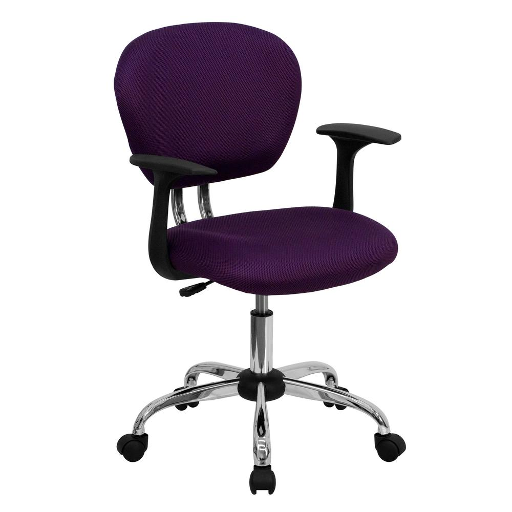 purple task chair outdoor swing philippines flash furniture mid back mesh swivel with chrome base and arms