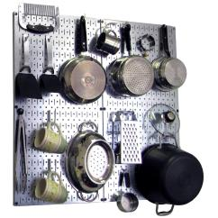 Pegboard Kitchen Pictures Of Outdoor Kitchens Wall Control 32 In X Steel Peg Board Pantry Organizer Pot Rack Metallic And White Hooks