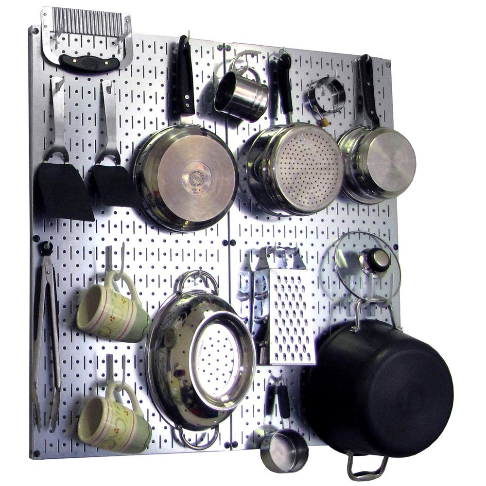 pegboard kitchen wooden chairs wall control 32 in x steel peg board pantry organizer pot rack metallic and white hooks