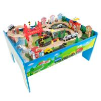 Hey Play 32 in. L Multi-Colored Wooden Train Set and Table ...