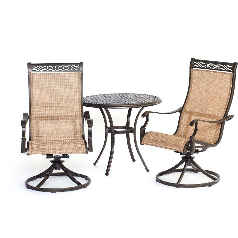 sling back patio chairs clearance dining room hanover manor 3 piece round bistro set with swivel