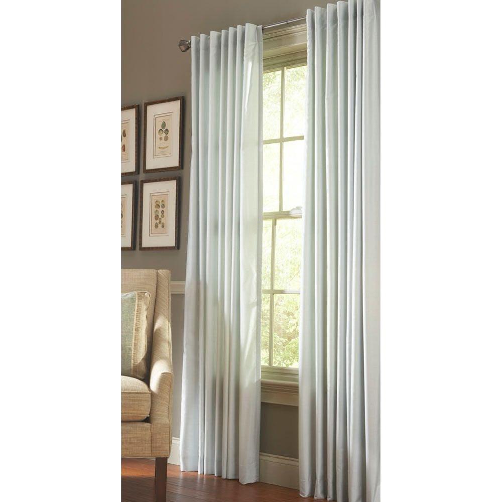 martha stewart living faux silk light filtering window panel in rainwater 50 in w x 95 in l