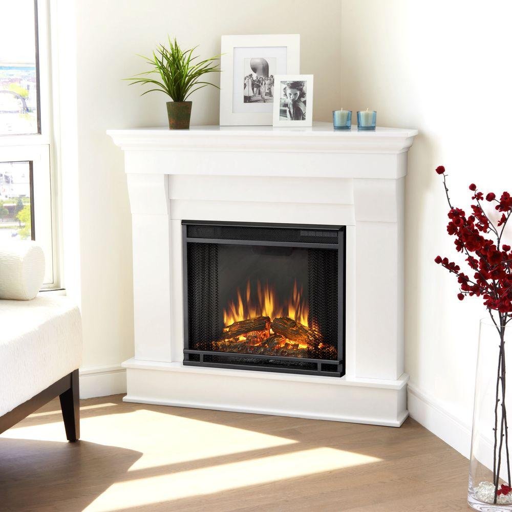 Real Flame Chateau 41 in Corner Electric Fireplace in White5950EW  The Home Depot