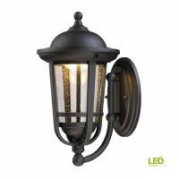 EnviroLite 13 in. Solid Black Outdoor LED Wall Lantern ...