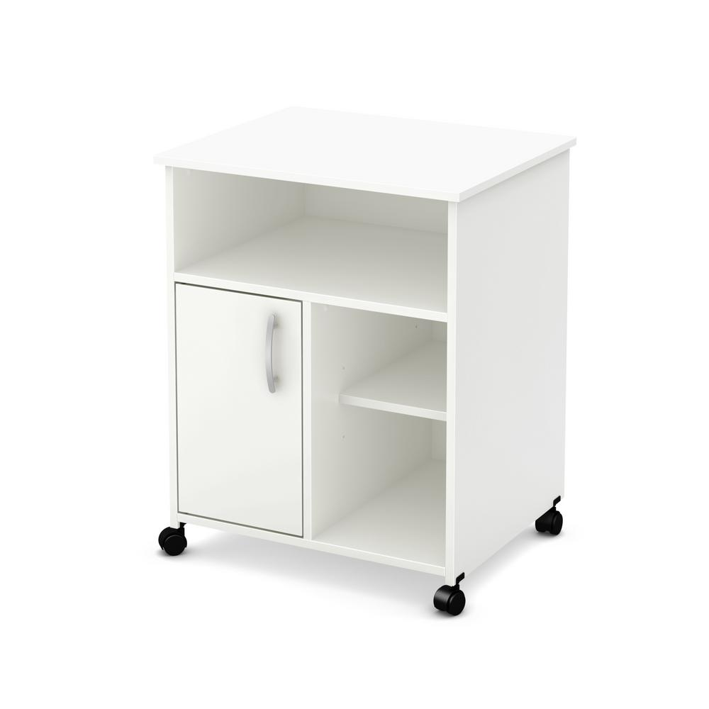 kitchen cart on wheels outdoor cabinets polymer south shore axess microwave with storage pure white 7250b1 the home depot