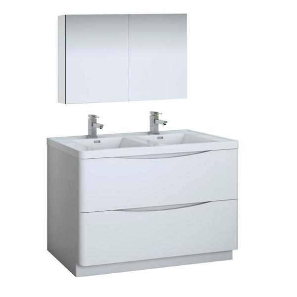 Fresca Tuscany 48 In Modern Double Bathroom Vanity In Glossy White With Vanity Top In White With White Basin Medicine Cabinet Fvn9148wh D The Home Depot