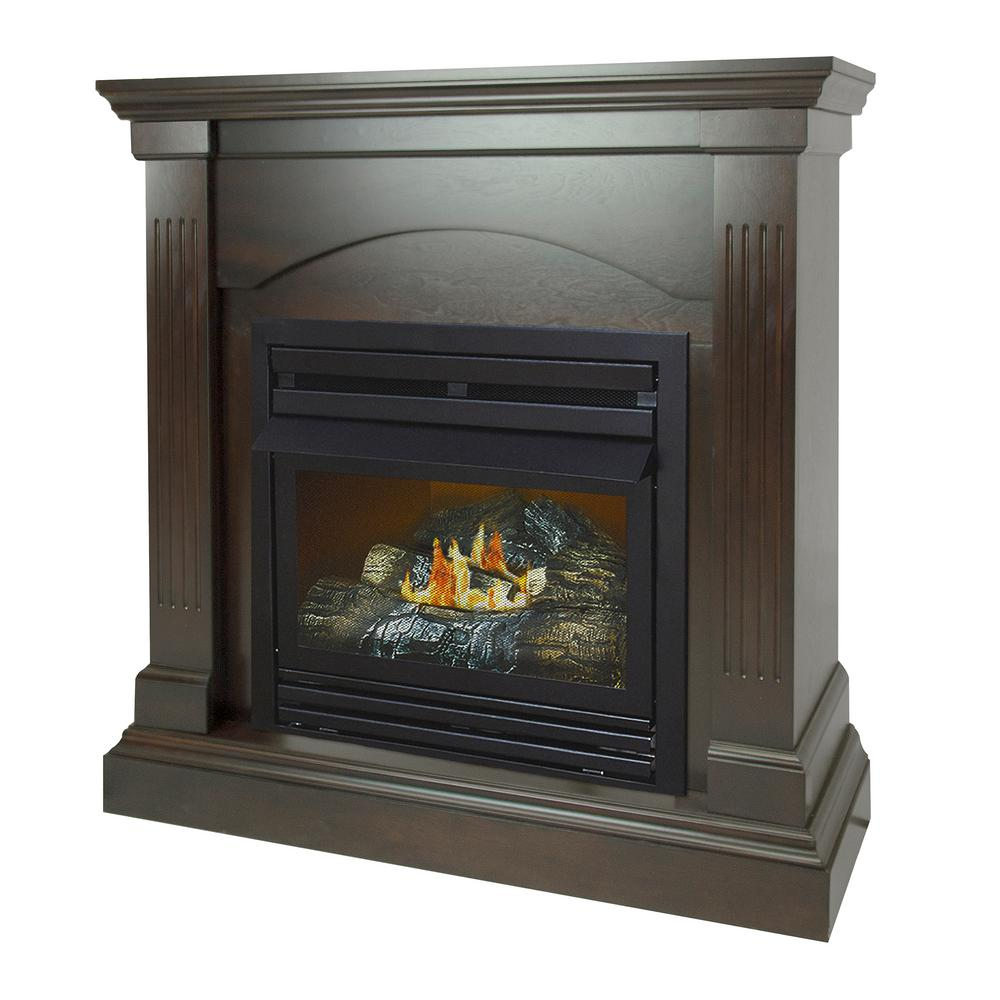 Pleasant Hearth 36 in 20000 BTU Compact Convertible Ventless Natural Gas Fireplace in Tobacco