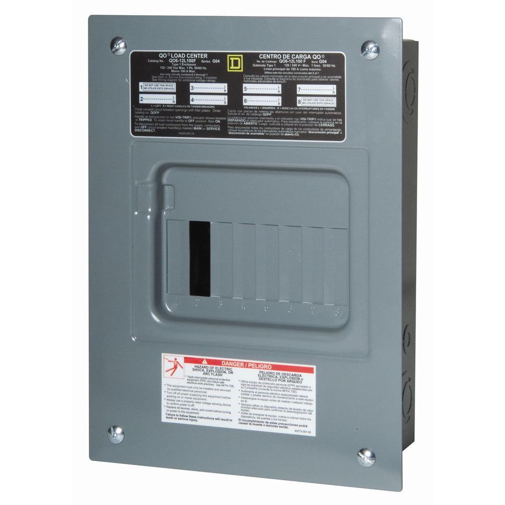 medium resolution of square d qo 100 amp 6 space 12 circuit indoor main lug load center