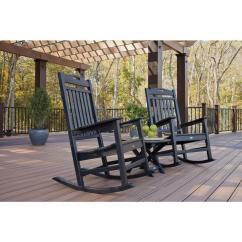 Rocker Outdoor Chairs Velvet Arm Chair Trex Furniture Yacht Club Charcoal Black 3 Piece Patio Set