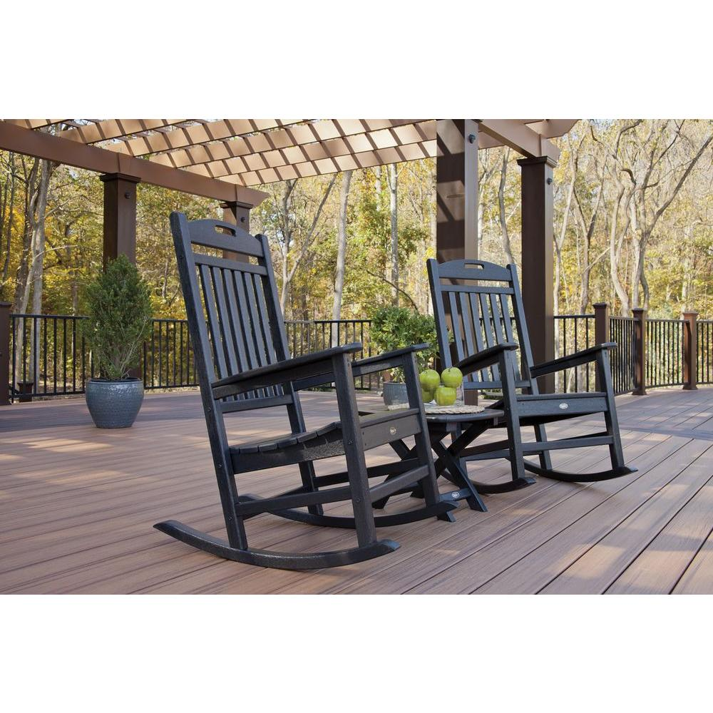 Outdoor Rocking Chair Set Trex Outdoor Furniture Yacht Club Charcoal Black 3 Piece Patio Rocker Set