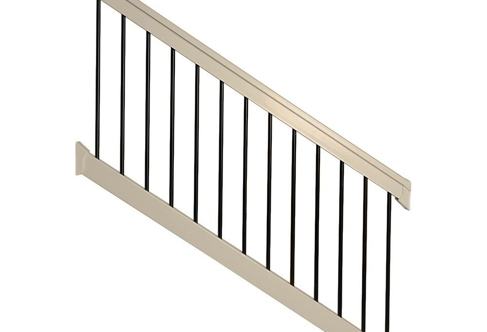 Weatherables Bellaire 3 5 Ft H X 72 In W Khaki Vinyl Stair   Outside Stair Railing Home Depot   Wood   Metal   Wrought Iron Railing   Stair Parts   Baluster