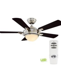 hampton bay midili 44 in led indoor brushed nickel ceiling fan with light kit and [ 1000 x 1000 Pixel ]