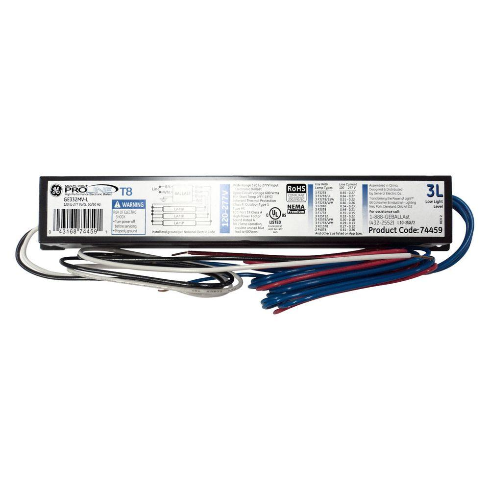 hight resolution of ge 120 to 277 volt electronic low power factor ballast for 4 ft 3 277v ballast wiring