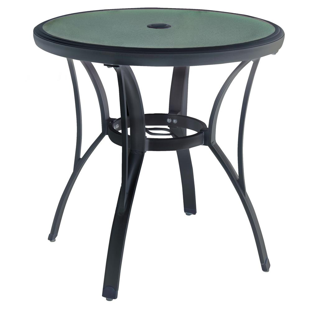 Bistro Table Small Round Patio Outdoor Textured Glass Top Umbrella Hole Durable  eBay