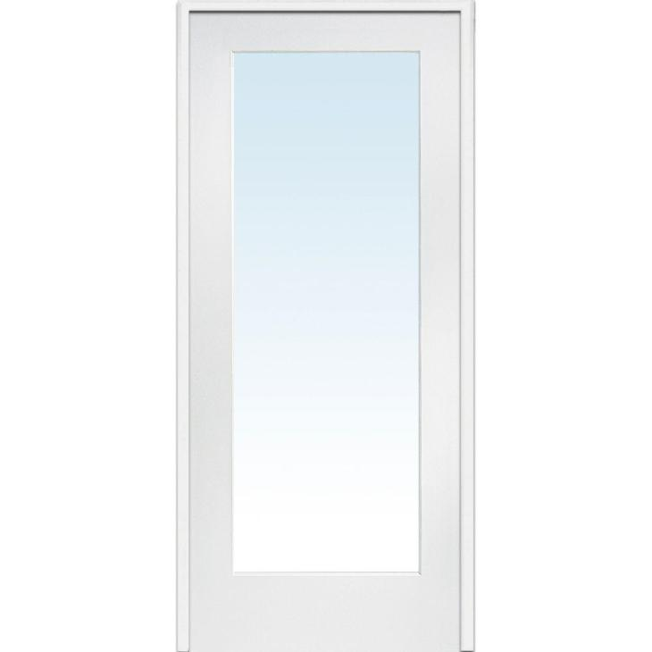 Left Hand Primed Composite Glass Full Lite Clear Single Prehung Interior  Door