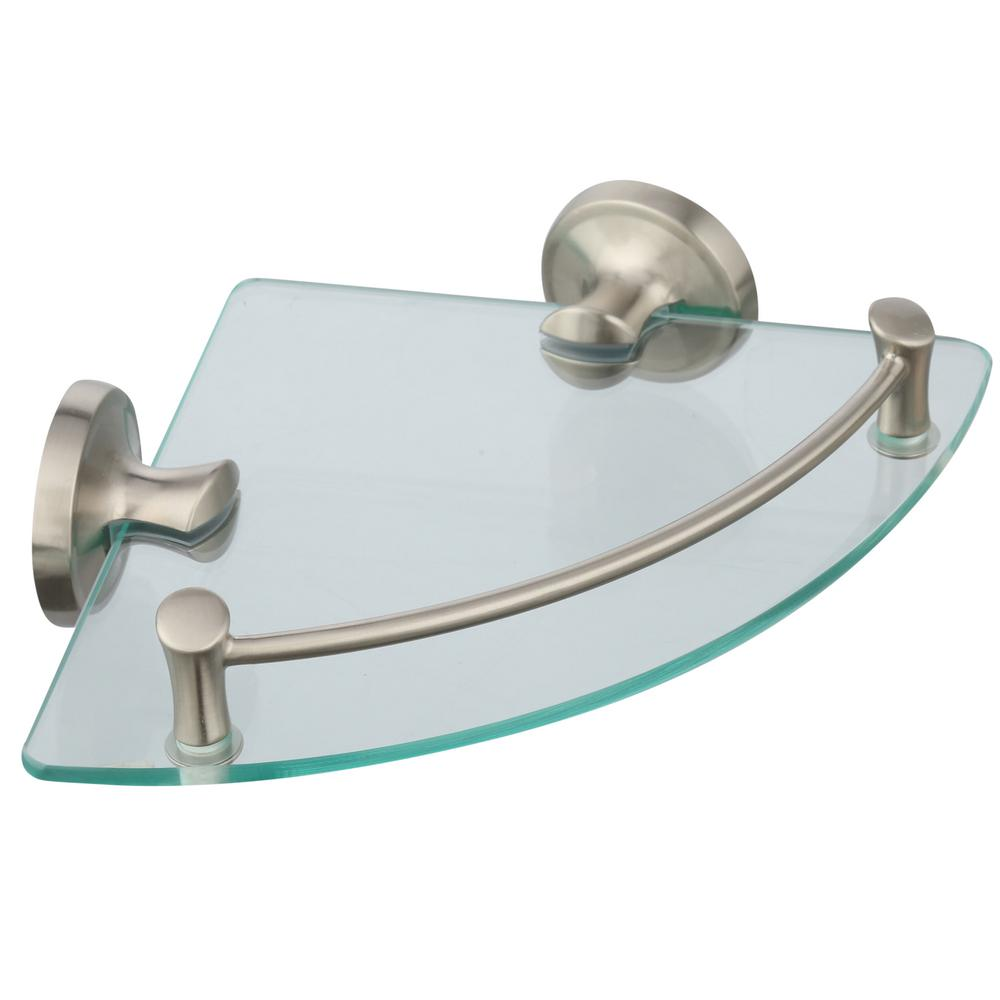 Delta 8 in. Glass Bathroom Corner Shelf in SpotShield