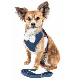luxe pom draper medium 2 in 1 adjustable dog harness leash with pom pom bowtie [ 1000 x 1000 Pixel ]